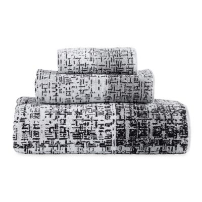 Dkny Crossway Fingertip Towel In Black White