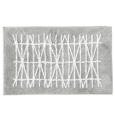 Dkny Geometrix Bath Rug In White Slate