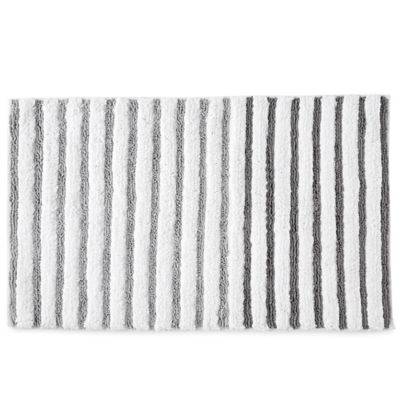 Dkny Parsons Stripe Bath Rug In Silver