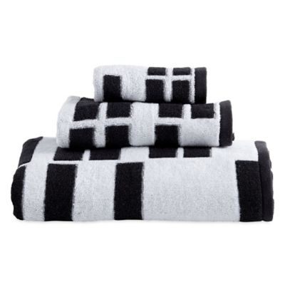 DKNY High Rise Fingertip Towel In White/Black
