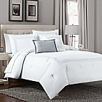 Seed Embroidery 5-Piece Full/Queen Comforter Set in White/Charcoal