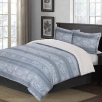 Cotton Twill Print 2-Piece Twin XL Comforter Set in Blue