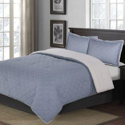 diamond quilted fullqueen comforter set in blue