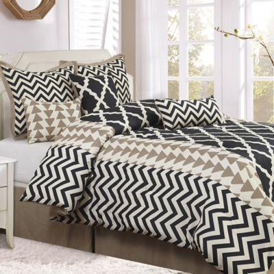 nanshing josh 7piece reversible california king comforter set in blackwhite