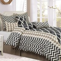 Nanshing Josh 7-Piece Reversible King Comforter Set in Black/White