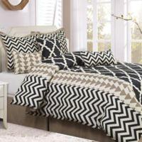 Nanshing Josh 7-Piece Reversible King Comforter Set in Black/White