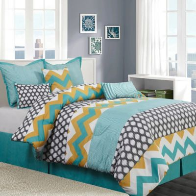 Buy Blue And Yellow Comforters From Bed Bath Beyond - Blue and yellow comforter sets king