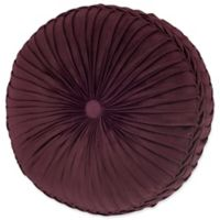 J. Queen New York Rosewood Tufted Round Throw Pillow in Burgundy