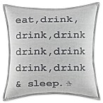 Original Penguin Flynn  Eat, Drink, Sleep  Square Throw Pillow in Grey