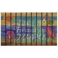 """""""Life is Better in Miami """" 30-Inch x 18-Inch Door Mat"""