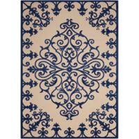 "Nourison Aloha 2'8"" x 4' Machine Woven Indoor/Outdoor Mat in Navy"