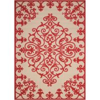 "Nourison Aloha 2'8"" x 4' Machine Woven Indoor/Outdoor Mat in Red"