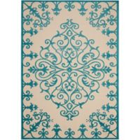 "Nourison Aloha 2'8"" x 4' Machine Woven Indoor/Outdoor Mat in Aqua"