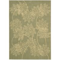 Nourison Capri Leaves 3-Foot 6-Inch x 5-Foot 6-Inch Area Rug in Sage