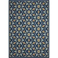 "Nourison Caribbean 2'6"" x 4' Machine Woven Indoor/Outdoor Mat in Navy"