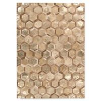 Michael Amini City Chic 5-Foot 3-Inch x 7-Foot 5-Inch Leather Area Rug in Gold