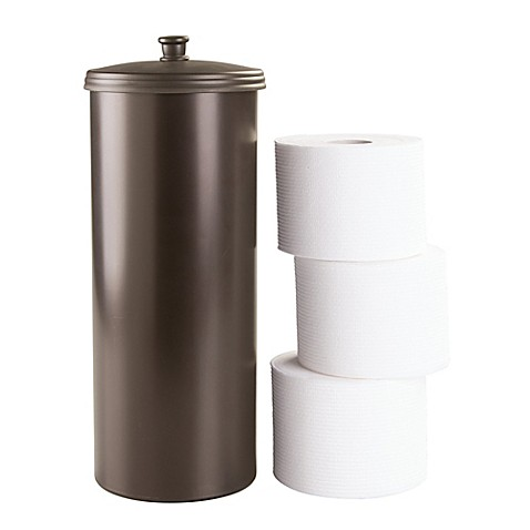 Interdesign kent 3 roll toilet paper canister in bronze bed bath beyond - Toilet roll canister ...