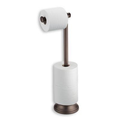 interdesign kent standing 3 roll toilet paper holder with dispenser bar in bronze