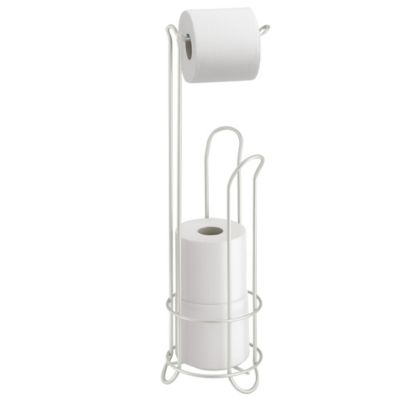 interdesign standing 3roll toilet paper holder plus in pearl white
