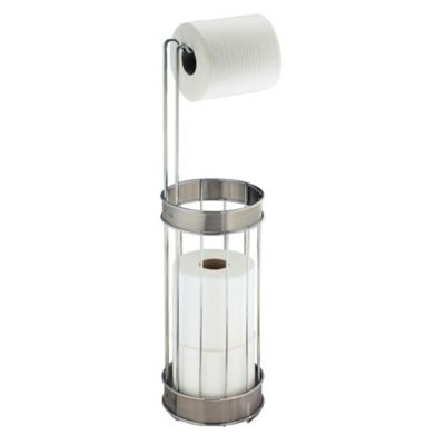 interdesign standing 3 roll toilet paper holder plus in chromebrushed stainless steel