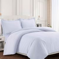 Tribeca Living Valencia Solid Twin Duvet Cover Set in White
