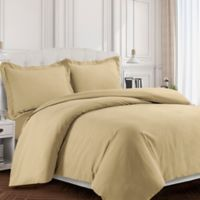 Tribeca Living Valencia Solid Queen Duvet Cover Set in Cashmere