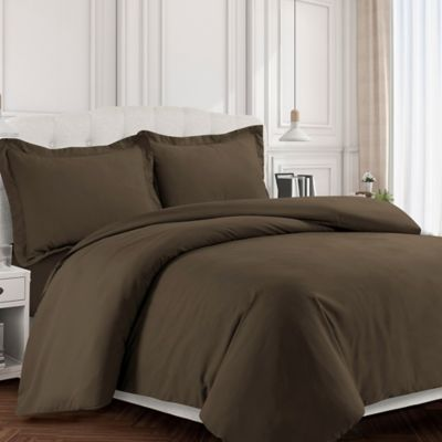 Tribeca Living Valencia Solid Queen Duvet Cover Set In Chocolate