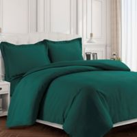 Tribeca Living Valencia Solid Twin Duvet Cover Set in Teal