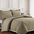 Tribeca Living Valencia Solid Queen Duvet Cover Set in Taupe