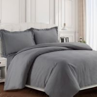 Tribeca Living Valencia Solid King Duvet Cover Set in Grey