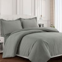 Tribeca Living Valencia Solid King Duvet Cover Set in Silver