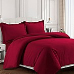 Tribeca Living Valencia Solid Queen Duvet Cover Set in Deep Red