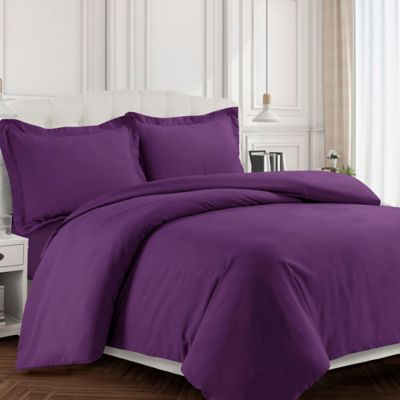 Tribeca Living Valencia Solid King Duvet Cover Set In Purple
