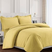 Tribeca Living Valencia Solid King Duvet Cover Set in Gold