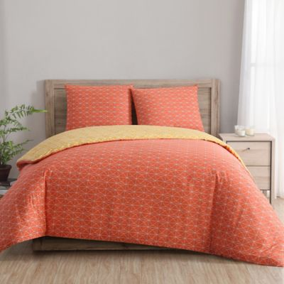clairebella geometric reversible king duvet cover set in
