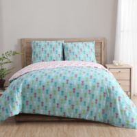 Clairebella Tropical Reversible Full/Queen Duvet Cover Set in Teal/Pink