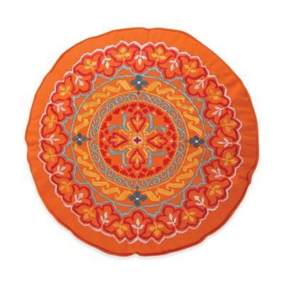 Levite Home Madalyn Round Throw Pillow In Orange