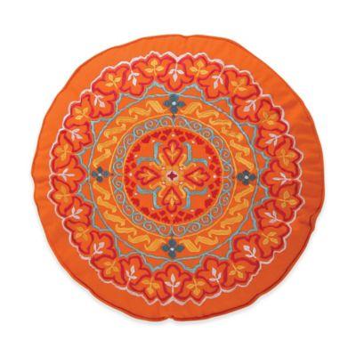 Levite Home Madalyn Round Throw Pillow In Orange