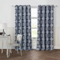 Petra 84-Inch Grommet Top Room Darkening Window Curtain Panel Pair in Navy