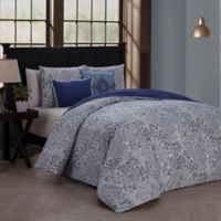 Fresco Reversible King Duvet Cover Set in Blue