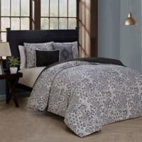 Fresco Reversible King Duvet Cover Set in Grey