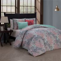 Fresco Reversible King Duvet Cover Set in Pink