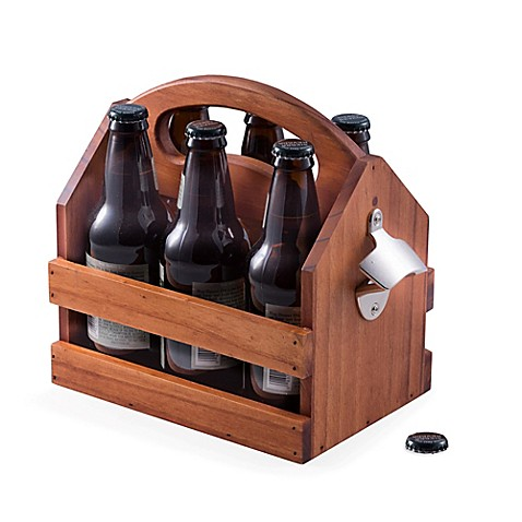 bey berk wood beverage caddy with bottle opener bed bath beyond. Black Bedroom Furniture Sets. Home Design Ideas