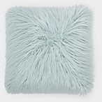 Flokati Faux Fur 18-Inch Square Throw Pillow in Spa Blue