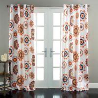 Adrianne 84-Inch Room Darkening Grommet Window Curtain Panel Pair in White/Orange