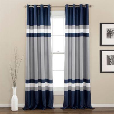 alexander 84inch room darkening grommet top window curtain panel pair in navy