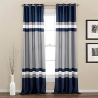 Alexander 84-Inch Room Darkening Grommet Top Window Curtain Panel Pair in Navy