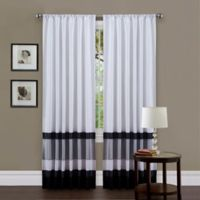 Iman Color Block 84-Inch Rod Pocket Window Curtain Panel in White/Black
