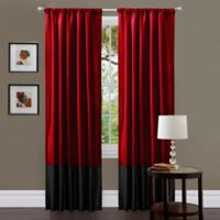 Milione Fiori 84-Inch Rod Pocket Window Curtain Panel Pair in Red/Black