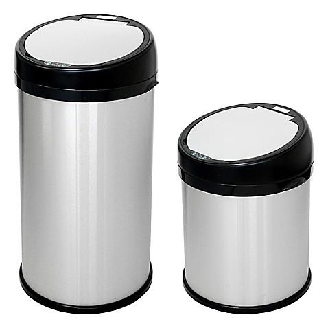 halo stainless steel extra wide round sensor trash can bed bath beyond. Black Bedroom Furniture Sets. Home Design Ideas